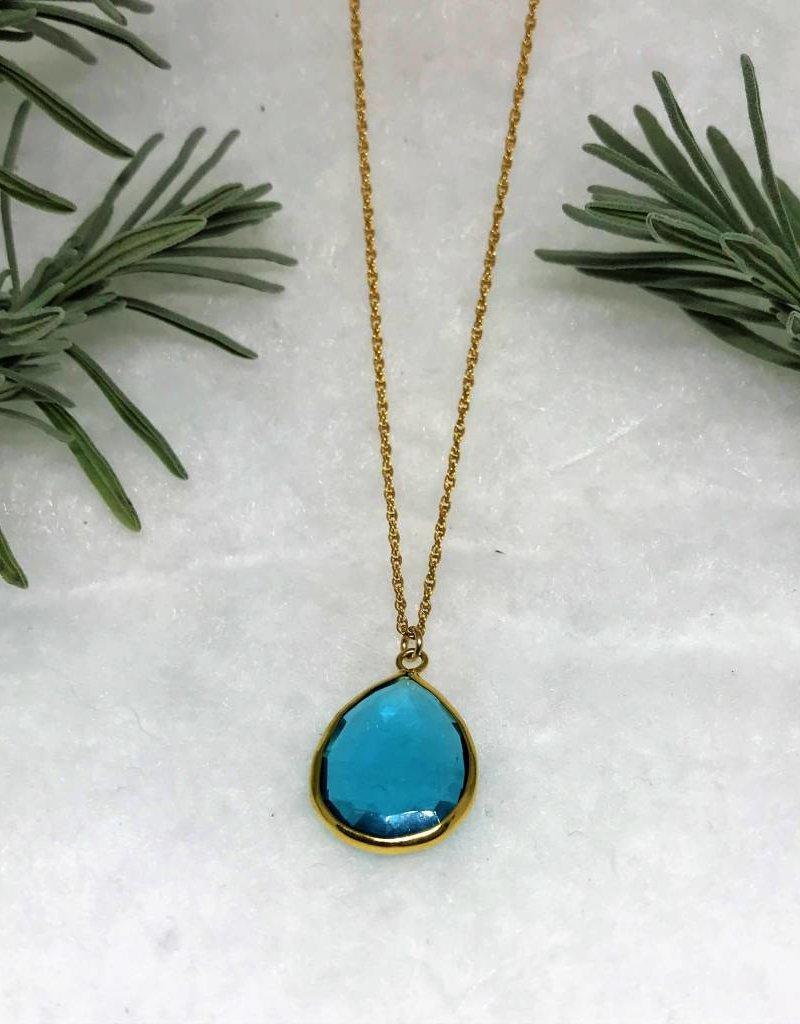 Teardrop Pendant Necklace - Blue Topaz/Gold