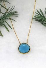 Lg Pendant Necklace - Blue Topaz/Gold