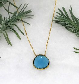 Lg Pendant Necklace - Blue Topaz/Gold