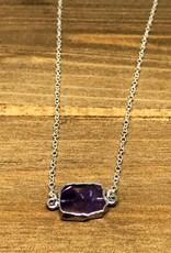 Gemstone Slice Necklace - Amethyst/Silver