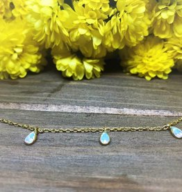 Tear Drop Necklace - Opal/Gold
