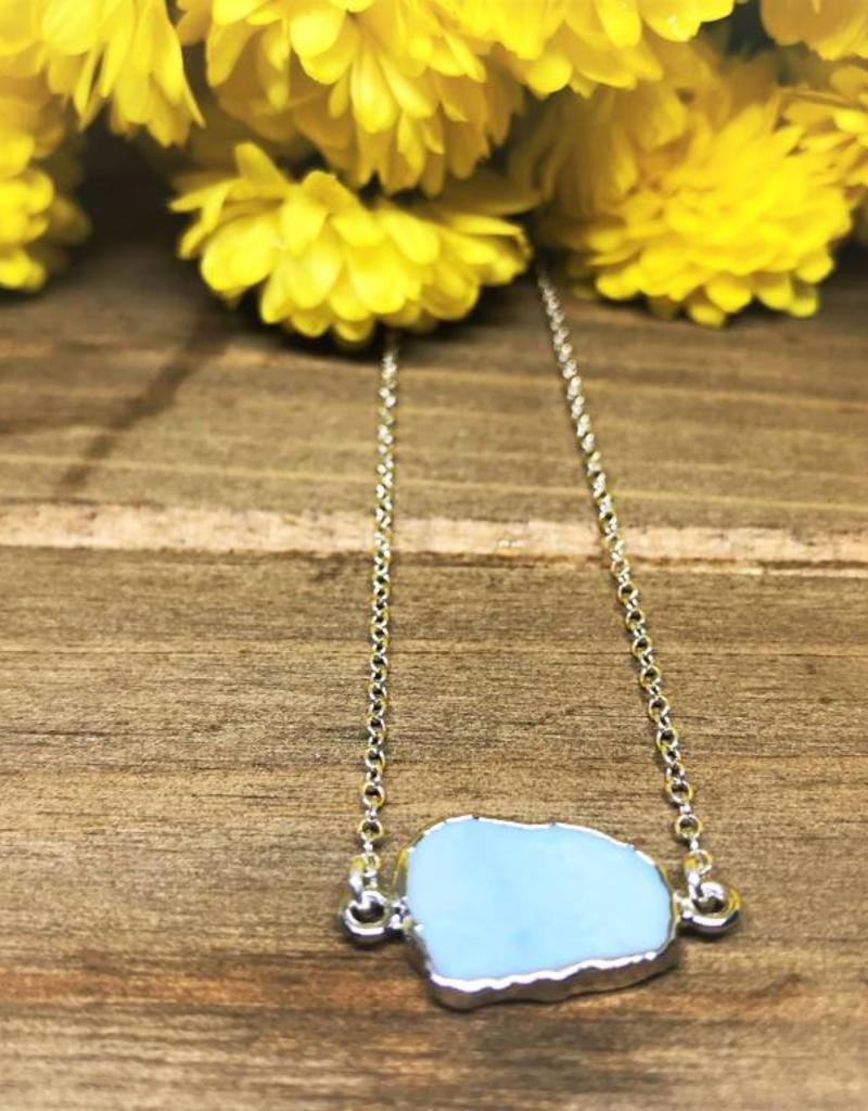 Gemstone Slice Necklace - Blue Opal/Silver