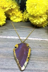 Arrowhead Necklace - Agate/Gold