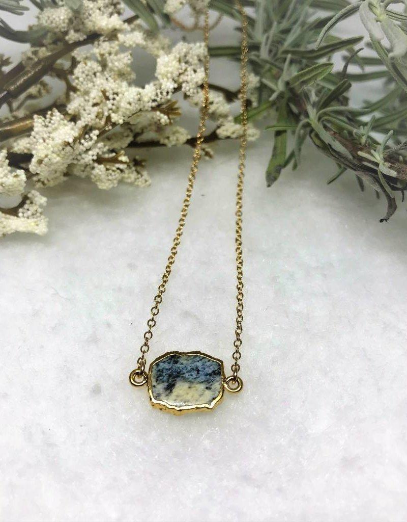 Gemstone Slice Necklace - Azurite/Gold
