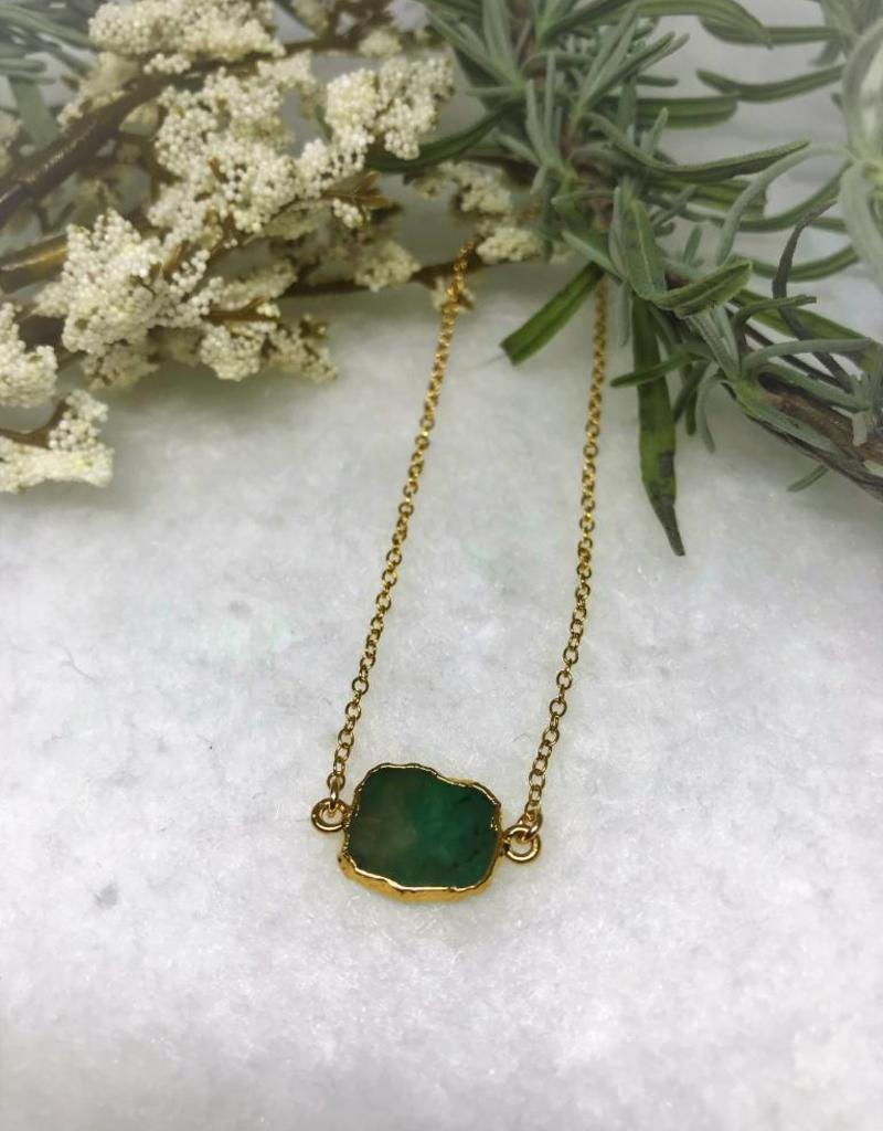 Gemstone Slice Necklace - Emerald/Gold