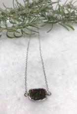 Gemstone Slice Necklace - Ocean Jasper/Silver