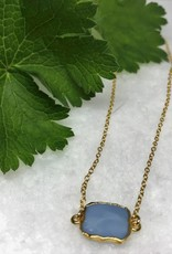 Gemstone Slice Necklace - Blue Opal/Gold
