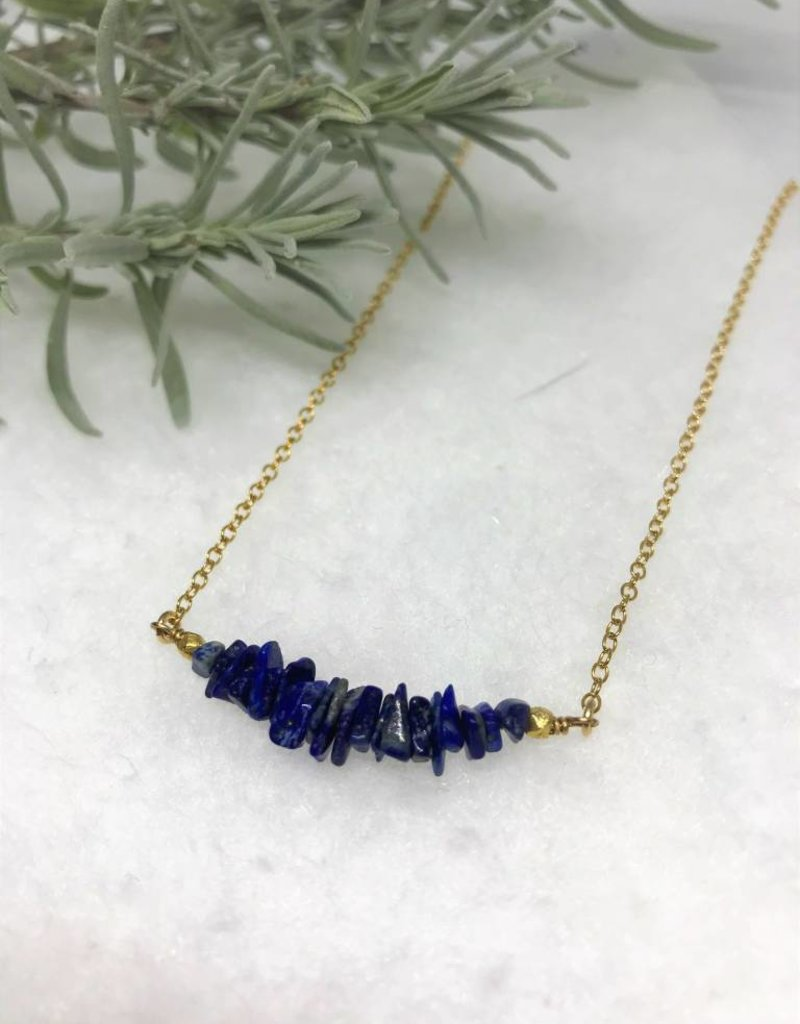 Gemstone Bar Necklace - Lapis Lazuli/Gold