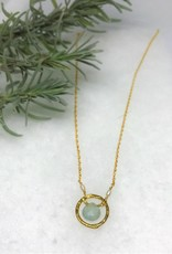 Hammered Circle Necklace - Aquamarine/Gold