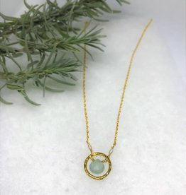 Necklace - Gold Hammered Circle Aquamarine