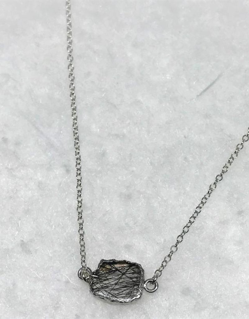 Gemstone Slice Necklace - Tourmalated Quartz/Silver