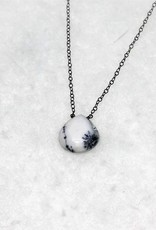 Raw Gemstone Necklace - Dendritic Opal/Oxidized Silver