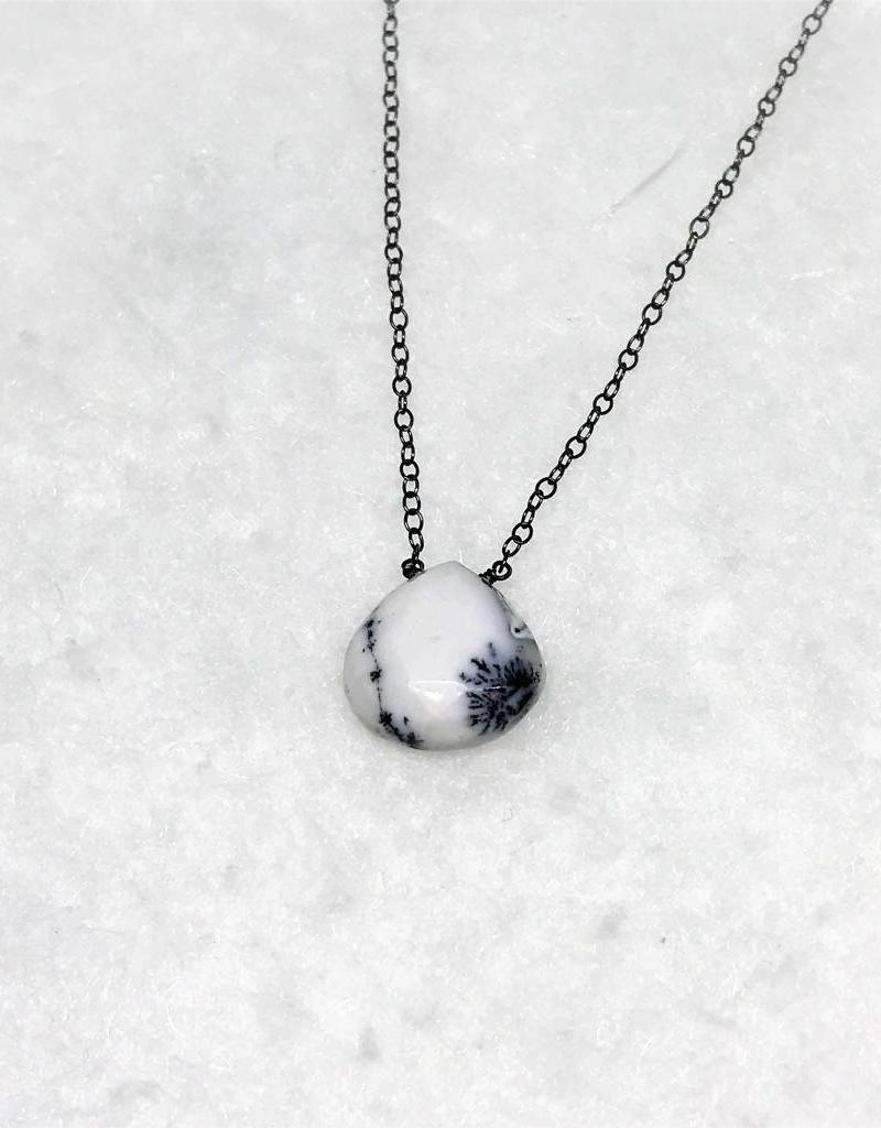 Raw Gemstone Necklace - Dendritic Opal/Oxidized Silver