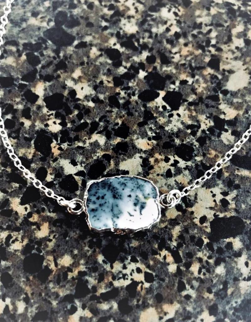 Gemstone Slice Necklace - Dendrite Opal/Silver