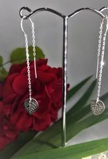 Thread Through Earrings - Silver Leaf