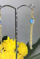 Thread Through Earrings - Labradorite & Crystal /Gold