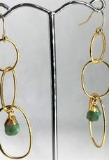 Drop Circle Earrings - Raw Emerald/Gold
