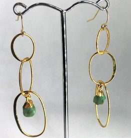Drop Circle Earrings - Raw Emerald/Gold
