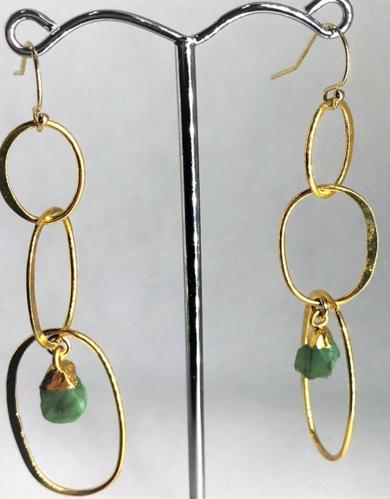 Drop Earrings - Raw Emerald/Gold