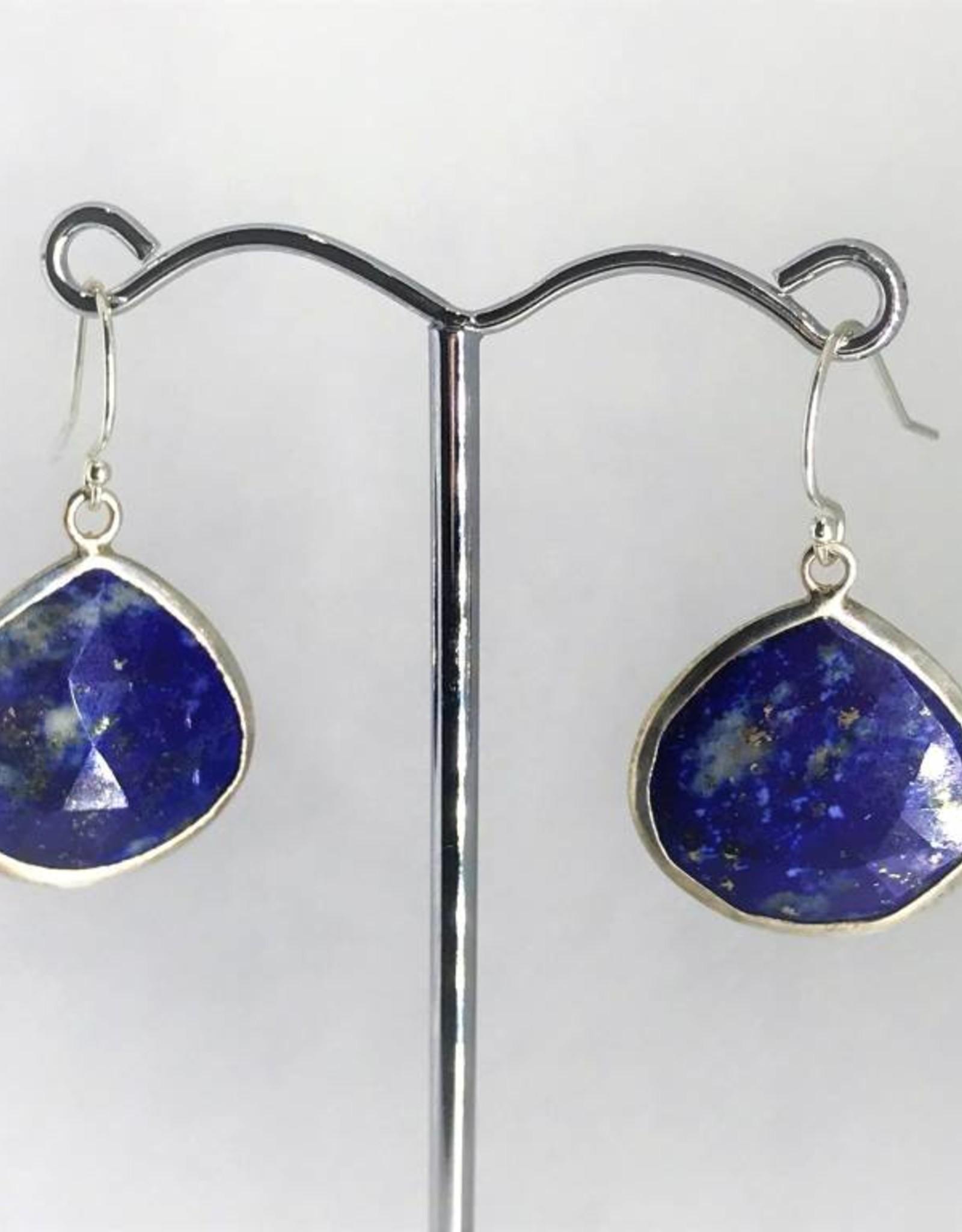 Pendant Earrings - Lapis/Silver