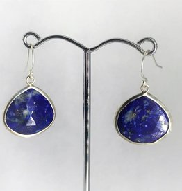 Pendant Earrings - Lapis/Silver