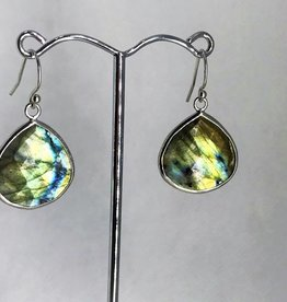 Earrings - Lg Pendant Labradorite SIlver