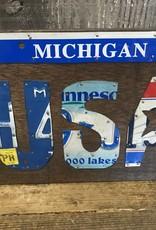 Found Art License Plate Art - USA w. Michigan Banner