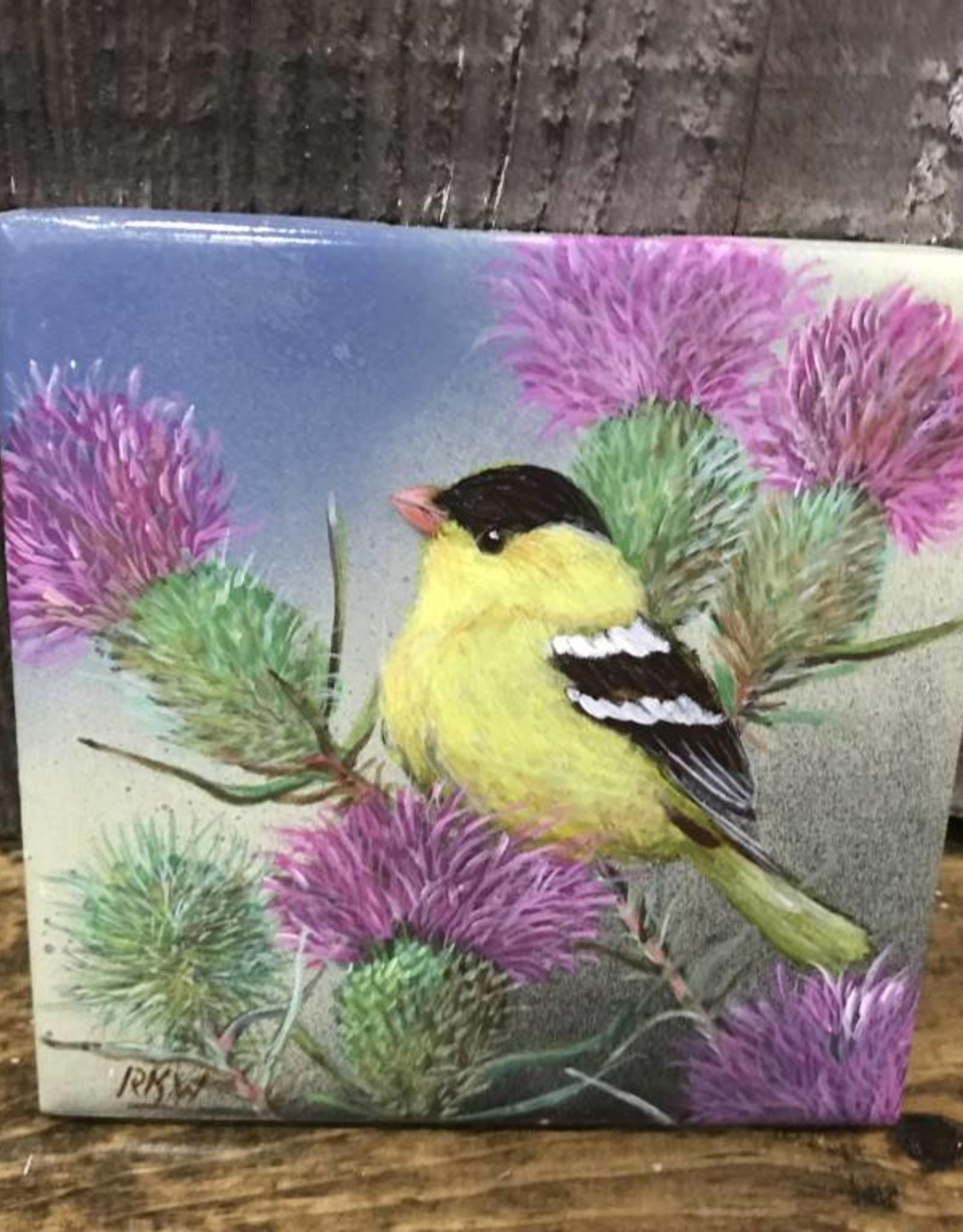 Ron Wetzel Art Handpainted Tile - Finch & Thistles