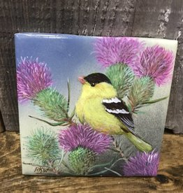 Ron Wetzel Art Handpainted Tile - Finch & Thistles