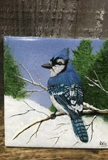 Handpainted Tile - Bluejay in Winter