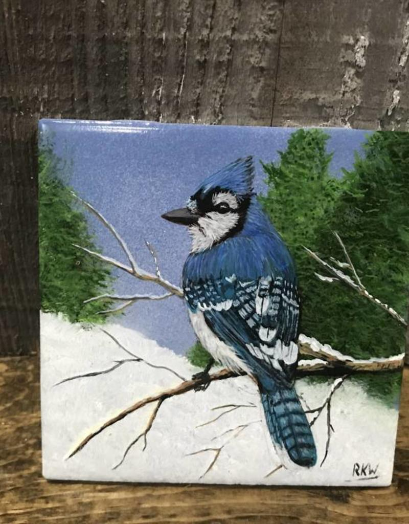 Handpainted Tile - Bluejay in Winter