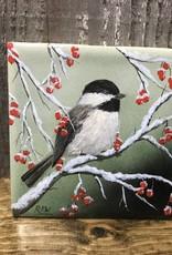 Handpainted Tile - Chickadee in Winter