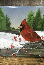 Handpainted Tile - Cardinal in Winter