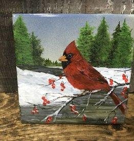 Handpainted Tile - Cardinal in Winter