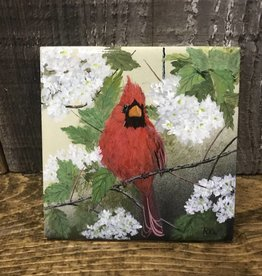 Handpainted Tile - Cardinal in Spring