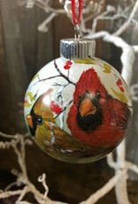 Handpainted Ornament - Cardinal Duo in Winter Left