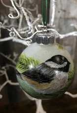 Handpainted Ornament - Chickadee on Pine