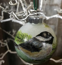 Ron Wetzel Art Handpainted Ornament - Chickadee on Pine
