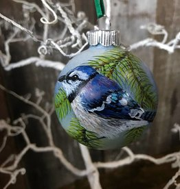 Handpainted Ornament - Bluejay on Pine