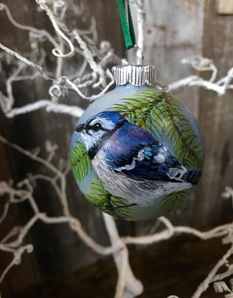 Handpainted Ornament - Bluejay on Pine