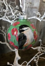 Handpainted Ornament - Chickadee & Apple Blossoms