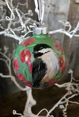 Handpainted Ornament - Chickadee & Apple Blossoms