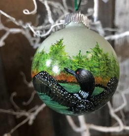 Ron Wetzel Art Handpainted Ornament - Loon Duo & Flight
