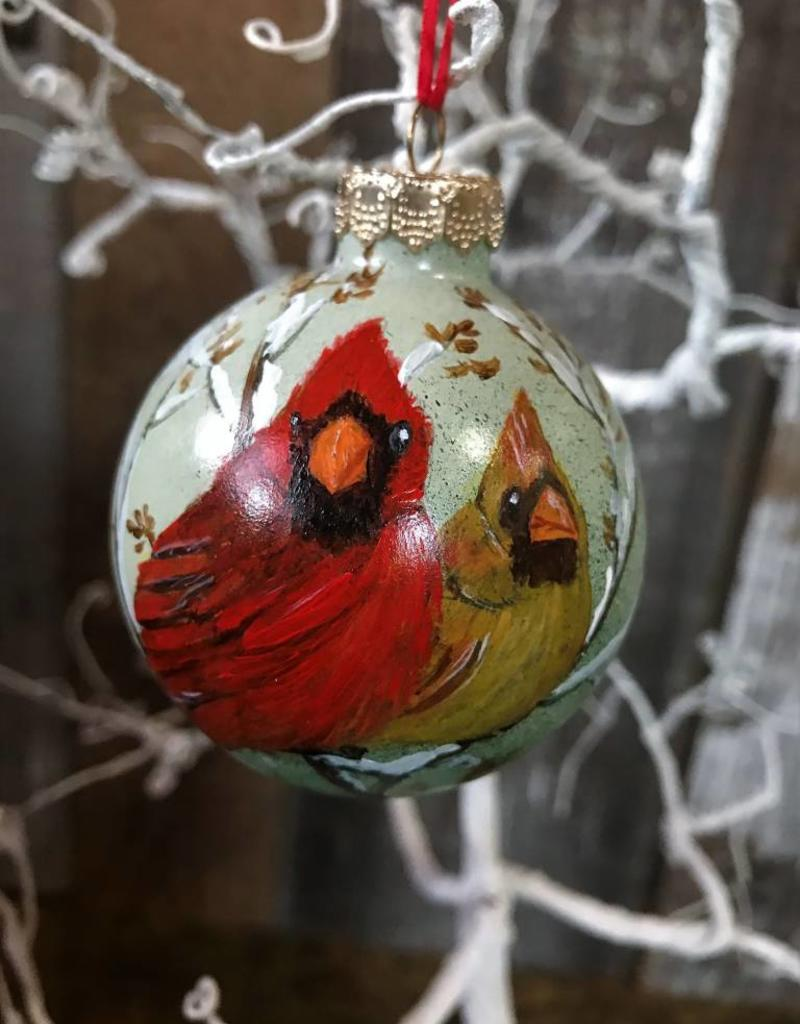 Handpainted Ornament - Cardinal Duo in Winter Center