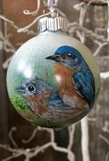Handpainted Ornament - Bluebird Duo