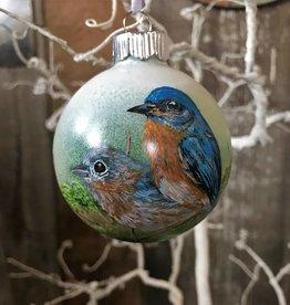 Ron Wetzel Art Handpainted Ornament - Bluebird Duo