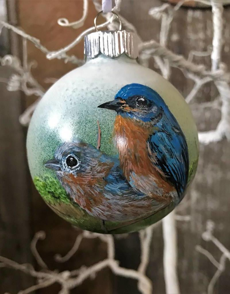Handpainted Ornament - Bluebird Duo