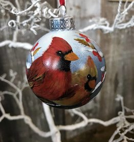 Handpainted Ornament - Cardinal Duo in Winter Right