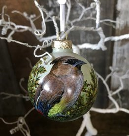 Handpainted Ornament - Cedar Waxwing