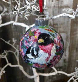Ron Wetzel Art Handpainted Ornament - Rose-Breasted Grosbeak
